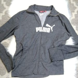 Women's PUMA Gray Hooded Hoodie Jacket Sweater S